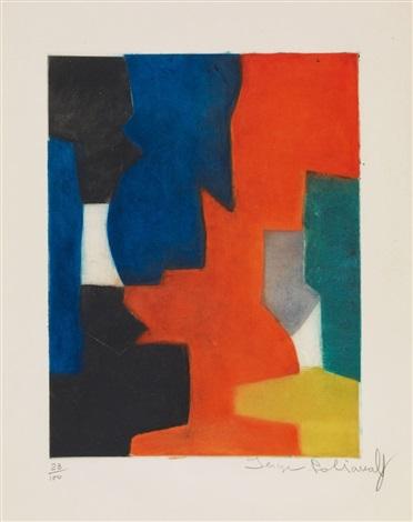 composition bleue rouge verte et noire by serge poliakoff