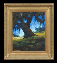 live oak on old bayou road by george rodrigue