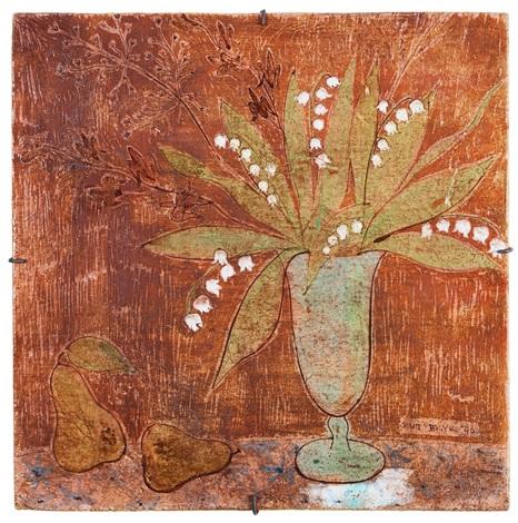 plakett dekor av vas med liljekonvaljer samt päron by rut bryk