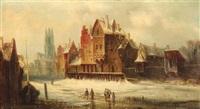 spaziergänger tummeln sich auf dem zugefrorenen kanal einer holländischen stadt by van hoom