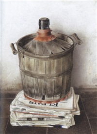 still life of chianti basket and stack of el pais by joan pujol