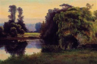 willow tree by the lake by georgina m. de l' aubiniere