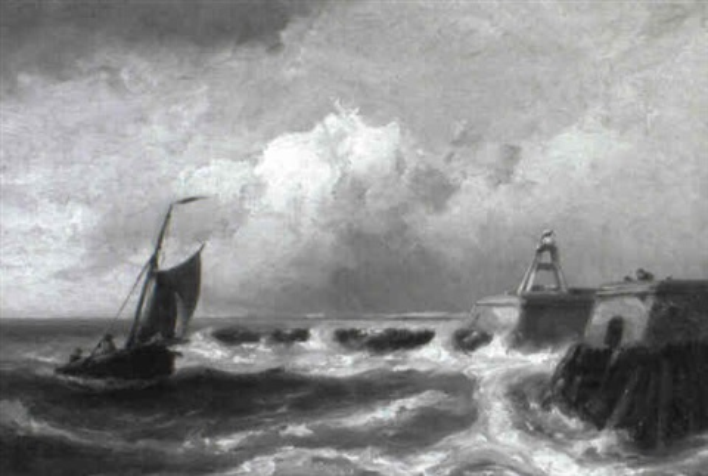 marinelandschaft mit heimkehrendem fischerboot by h koekkoek