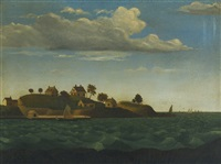 an historic painting of a maine island – thought to be house island, casco bay, maine by american school (19)