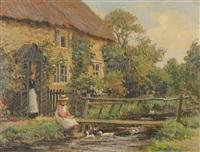 girl seated beside a stream feeding ducks by ernest higgins rigg
