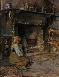 peasant woman seated by a kitchen fireplace by augusto daini