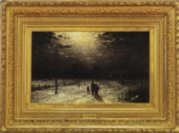 figures in a winter evening landscape by thomas lochlan smith