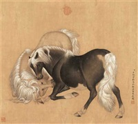 two horses (style of giuseppe castiglione) by youxue wang