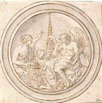 allegorische szene mit genius, weiblicher personifikation und putto, im hintergrund die kathedrale von antwerpen by françois roëttiers