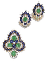 a brooch and matching earclips by bulgari