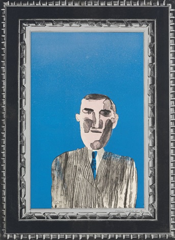 picture of a portrait in a silver frame pl3 from a hollywood collection by david hockney