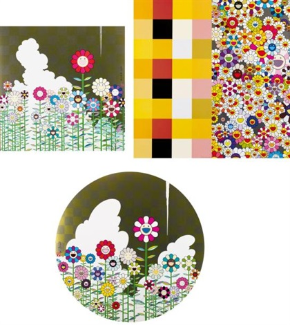 floating campsite warm and sunny acupunctureflowers set of 3 by takashi murakami
