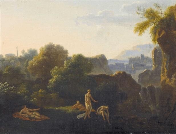 idyllische landschaft mit badenden nymphen by cornelis van poelenburgh
