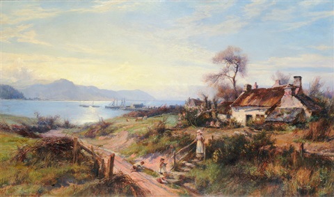 mother and children on a country lane fishing boats on the conway estuary in the distance by william gilbert foster