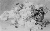 großes stilleben mit späten rosen in einem korb by juliette goury