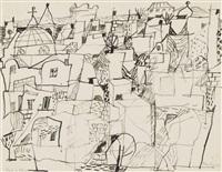 der berg / stadt m. kuppel 1956 / berg 1957 / ohne titel (landschaft) 1957 (4 works) by eduard bargheer