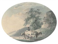a cowherd with cattle by a ruin (+ a cowherd with cattle on the road; pair) by peter la cave