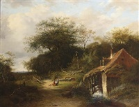 a wooded landscape with travellers on a sandy track near a watermill by johannes warnardus bilders