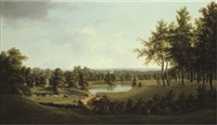 view of a parkland on the thames (dorchester house, later ham court?) by thomas christopher hofland