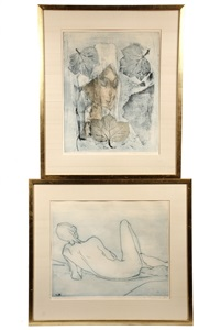 normandy woman & reclining nude (2 works) by etienne ret