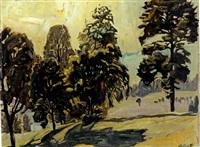 voralpenlandschaft mit bäumen by otto bauriedl