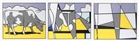 cow going abstract (triptych) by roy lichtenstein