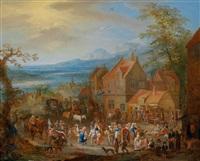 jahrmarktstreiben vor der kirche (+ bauerntanz vor der herberge; pair) by franz christoph janneck