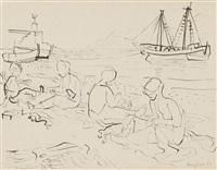 ohne titel (fischer- und strandszenen am mittelmeer) (4 works) by eduard bargheer
