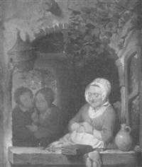 eine ältere frau sitzt schlafend am geöffneten fenster, ein junges liebespaar nützt diese situation für sich by franciscus melzer