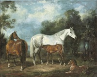 mares and foals by raoul millais