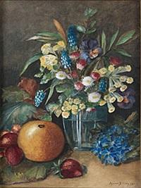 stilleben med blommor och frukter by anna billing