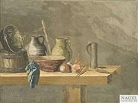 zwei küchenstilleben mit vorratsgefäßen, fisch und gemüse (pair) by jakob rauch