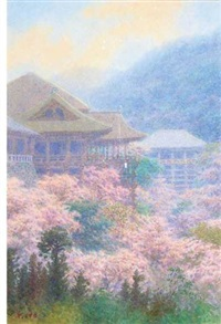 spring landscape with pagodas and cherry blossoms in full bloom by ito yoshihiko