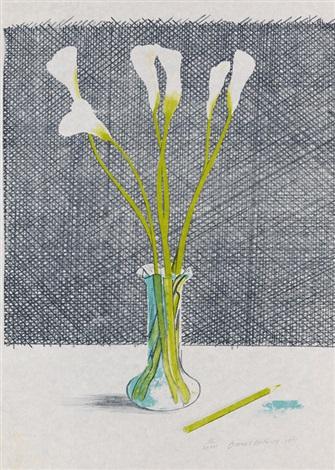 lillies pl3 from europäische graphik vii englische künstler by david hockney