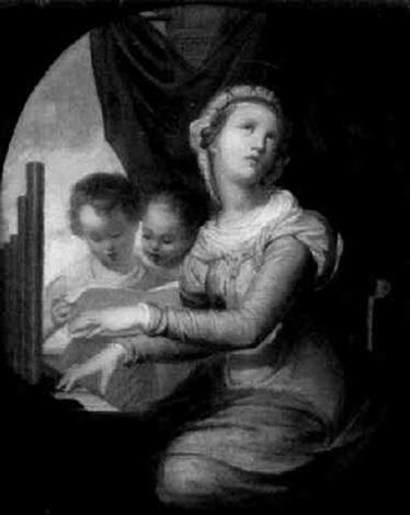die hl cecilie an einer orgel by eugenio agneni