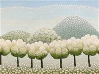 ohne titel (hügellandschaft mit bäumen) by ivan rabuzin