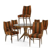 dining table and six dining chairs two-arm (7 works) by erno fabry