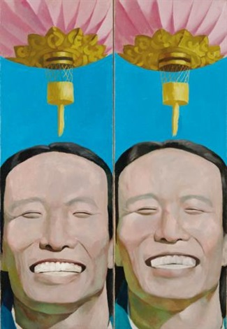 chinese lanterns diptych by yue minjun