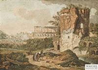 römisches ruinencapriccio mit landleuten auf einem sandigen fahrweg by wolfgang köpp