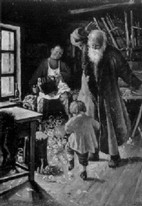 spielender knabe in großvaters werkstatt by sergei tolkachev