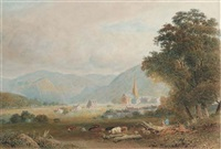 keswick new church looking into the vale of borrowdale, cumberland by frederick nash