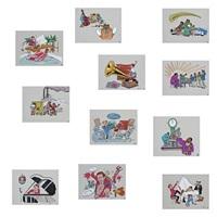 collection of 11 original drawings (11 works) by peder bundgaard