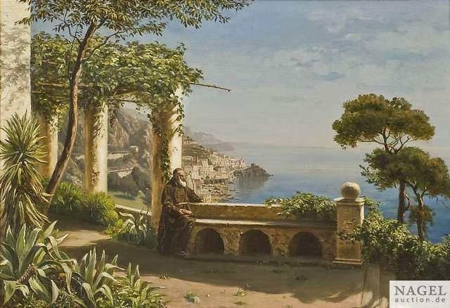 mönch auf der terrasse des kapuzinerklosters im hintergrund die bucht von amalfi by marie ertl