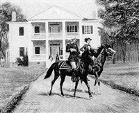 general custer and his wife on horses in front of a colonial-style mansion by joe ruiz grandee