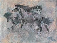 雨中双马 (two horses in the rain) by tomos