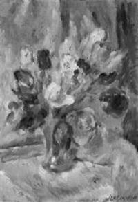 blumenstilleben (tulpen in einer glasvase) by kurt lehmann