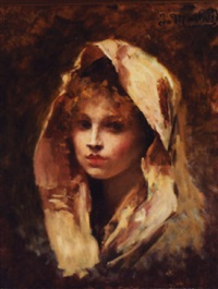 portrait of a beautiful young girl by jules louis machard