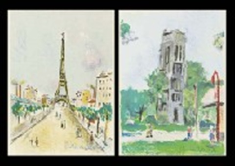 la tour eiffel from paris capitale tour saint jacques and musée du louvre 3 works by maurice utrillo
