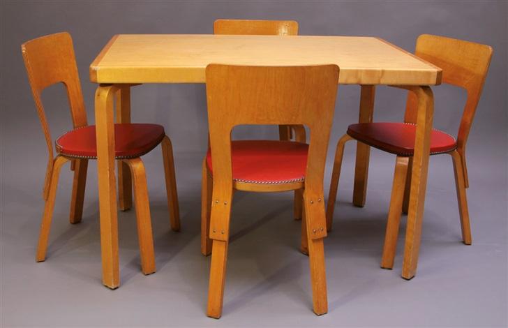 Sitzgruppe Esstisch Und Stuhle Set Of 5 By Alvar Aalto On Artnet
