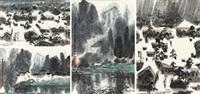 山水 (四帧) (4 works) by xu xi